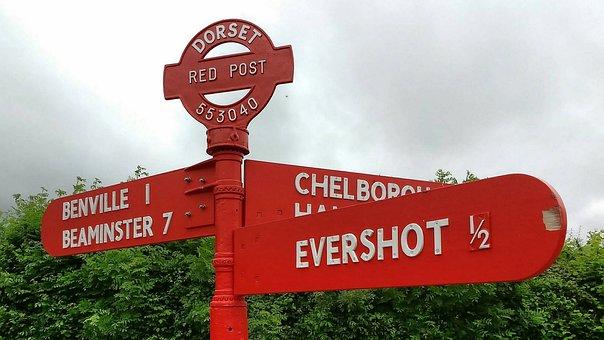Signpost, Dorset, Direction, England, Uk, Sign