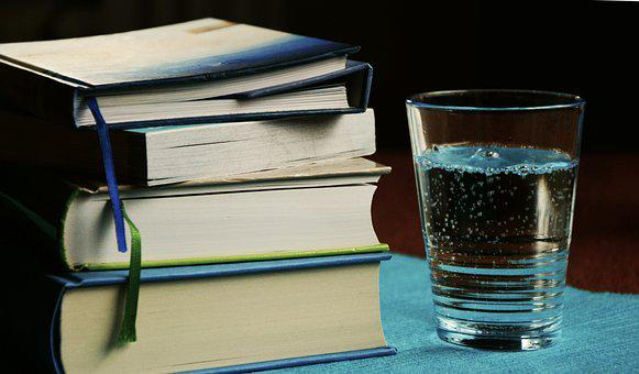 Books, Book Stack, Water Glass, Glass Of Water, Learn