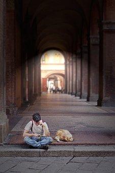 Bologna, Portici, Porch, Italy, Architecture, Dog, Guy