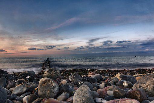Stone Beach, Evening Sun, Hdr, Low Angle Shot, Blue