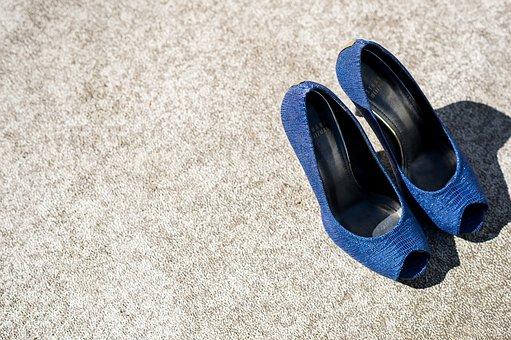 Shoes, Wedding, Blue Shoes, High Heels