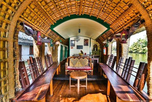 Houseboat, Boat, Water, Kerala, India, Nature, Coconut