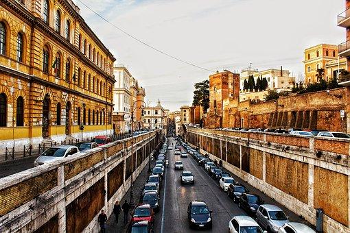 Rome, Colosseum, Road, Roman Coliseum, Italy
