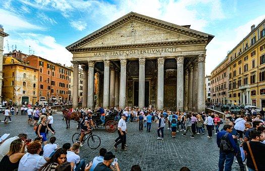 Rome, Pantheon, Piazza, Rotonda, Ancient, Roma, Italy