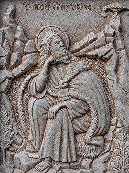 Engraving, Prophet Elias, Wall, Church, Stone, Religion
