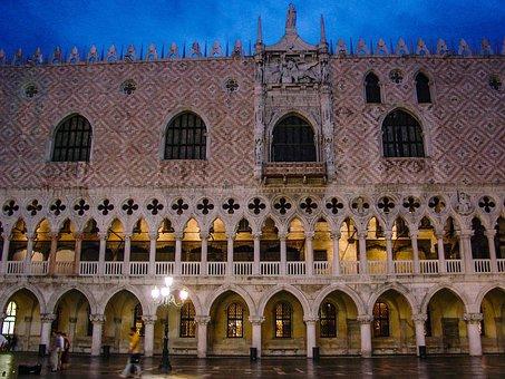 Venice, Doge, Palace, Italy, Night, Palazzo, St Marks