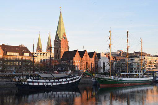 Bremen, Weser, Kill, Sunset, Teerhof, Pannekoekship