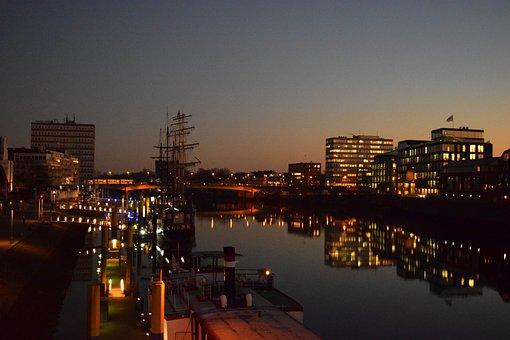 Bremen, Weser, Sunset, Kill, Ships, River, Bridge