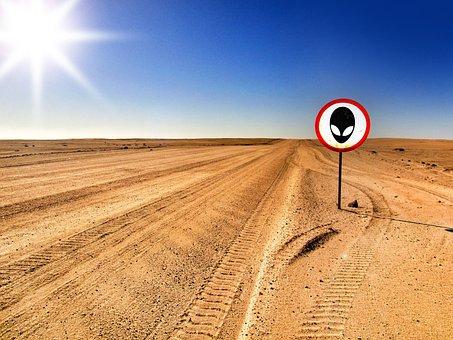 Area 51, Alien, Warning, Desert, Away, Road, Trace