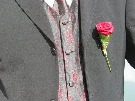 Rose, Badges, Lapel, Red, Suit