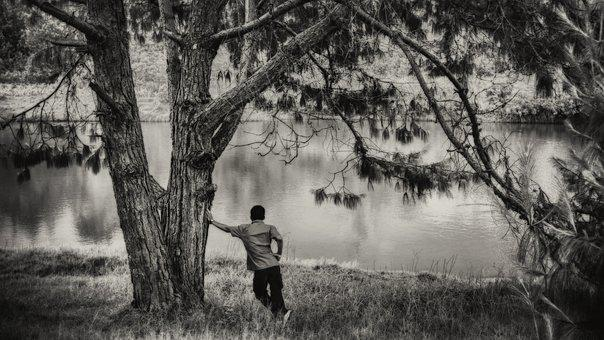 Lake, Lonely, Black And White, Nature, Solitude