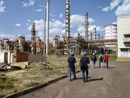 Factory, Yulin, Colleagues, Chemical Plant, Walking