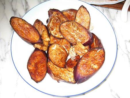 Fried Eggplant, Vegetables, Cooking