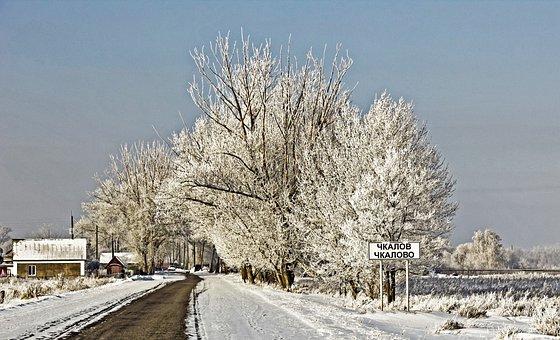 Winter, Village, Landscape, Coldly, Cottage, Frost