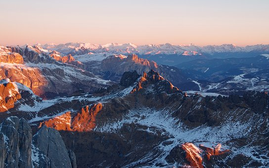 Dawn, Padon, Dolomites, Sunrise From Marmolada, Italy