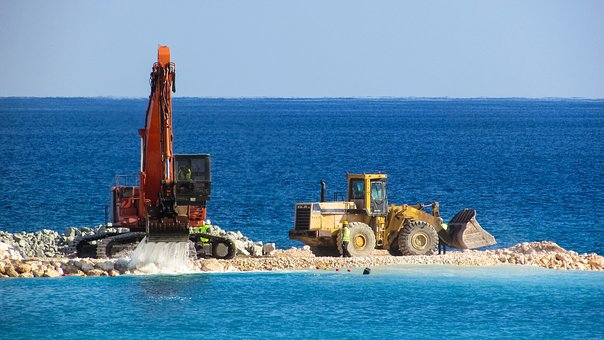 Excavator, Bulldozer, Vehicle, Construction, Marina