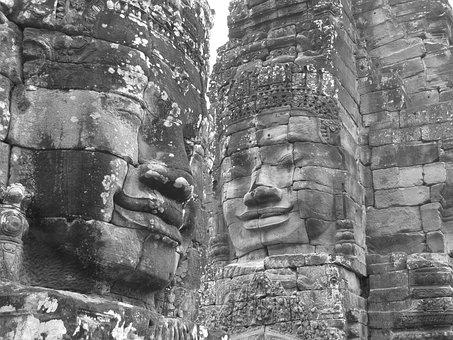Stone, Faces, Gray, Temple, Vietnam, Angkor