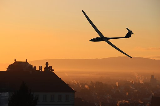 Glider Pilot, City, Morning, Mood, Lighting, Houses