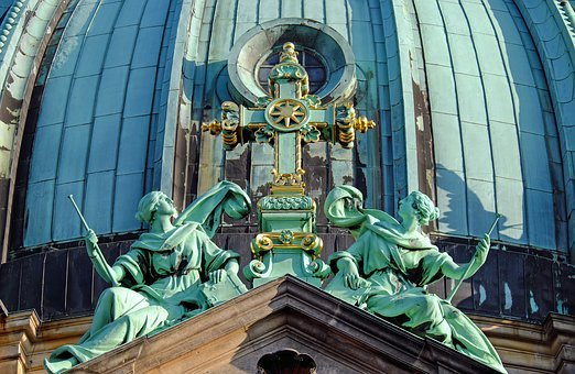 Berlin Cathedral, Dome, Cross, Angel, Copper, Gold Leaf