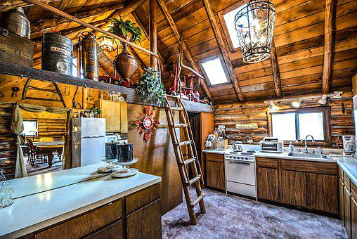 Log, Cabin, Rustic, Home, Interior, Kitchen, Ladder