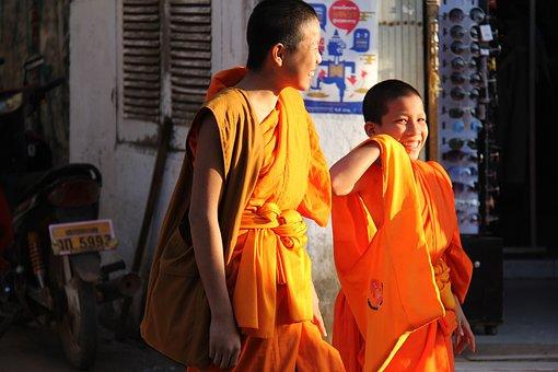 Monks, Walking, Luang Prabang, Local, People, Laos