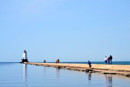 Lighthouse, Pier, Boardwalk, Lake, Summer, Tourism