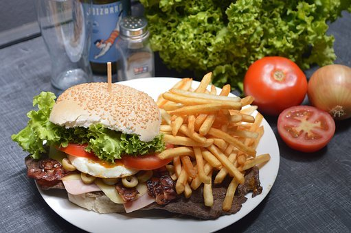 Burger, French Fries, Potato Chips, Tomato, Food