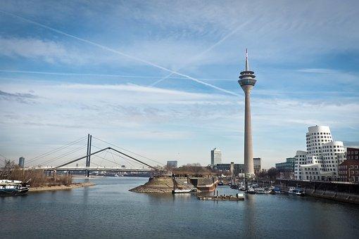 Skyline, Düsseldorf, Rhine, Tv Tower, Sky, River