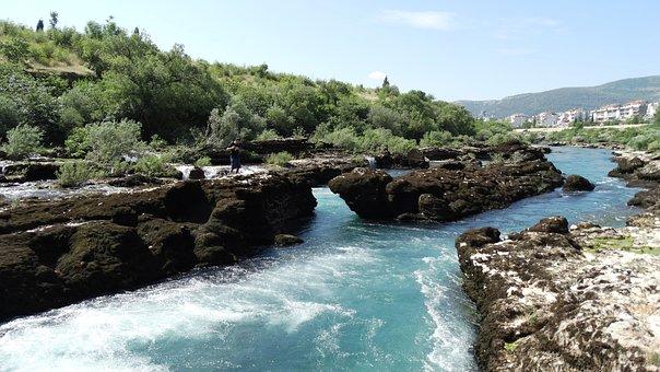 River, Rocks, Neretva, Mostar
