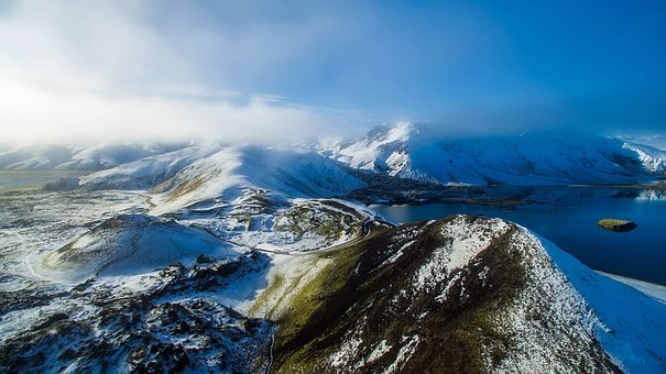Iceland, Fjord, Water, Lake, Winter, Snow, Landscape