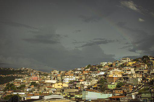 Favela, City, Rainbow, Between Clouds, Storm