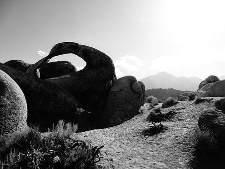 Rock, Black, White, Sand Stone, Nature, Sun, Back Light