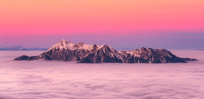 Iceland, Mountains, Landscape, Sunrise, Dawn, Sky