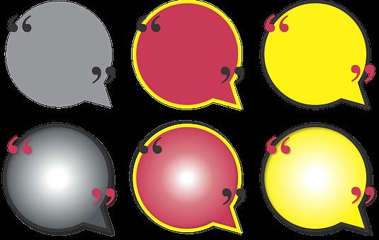 Quote, Bubble, Circle, Talk, Color, Gradient, Red
