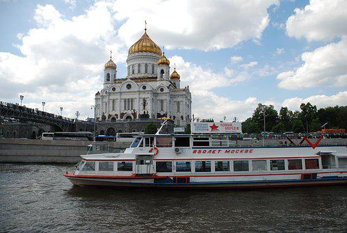 Russia, Moscow, Temple, The Moscow River, Ship