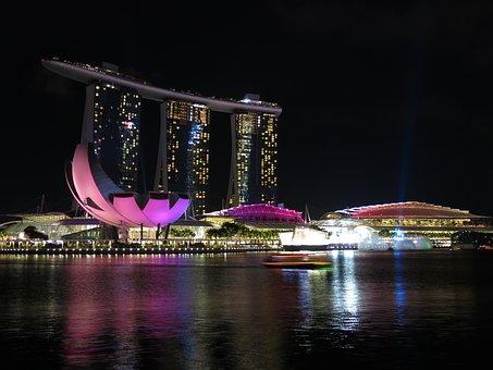 Singapore, River, Night Lights, Tourism, Light, Skyline