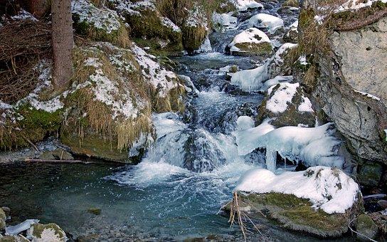 Stream, Winter, Marmolada, Dolomites, Mountain, Snow