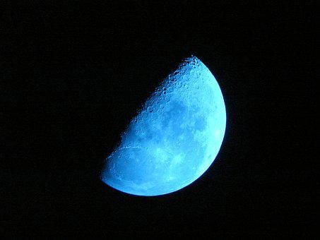 Moon, Blue Moon, Sky, Night, Half Moon, Blue Night