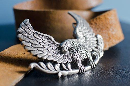 Belt, Buckle, Eagle, Silver, Metal, Fashion, Leather