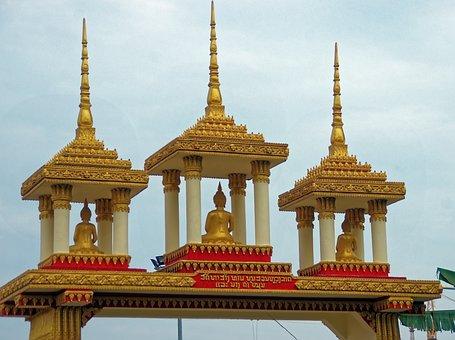 Laos, Vientiane, Temple, Porch, Ridge, Buddhas