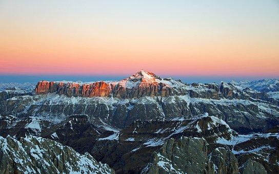 Dawn, Dolomites, Massif Of The Saddle