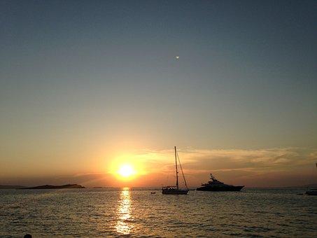 Sunset, Greece, Coastline, Nature, Sea, Travel