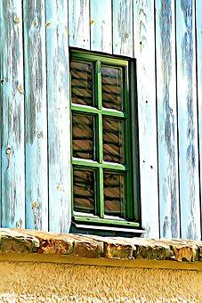 Digital, Graphics, Window, House, Házfal