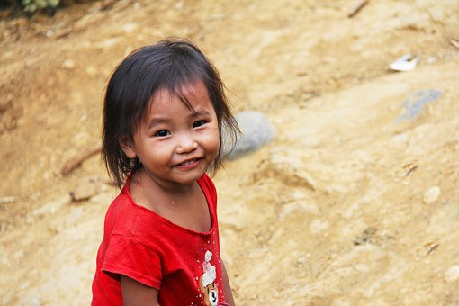 Cute, Little, Young, Girl, Happy, Walking, Laos, Local