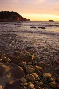 Javea, Sea, Beach, Mediterranean, Dawn, Waves, Stones