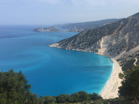 Kefalonia, Myrtos, Beach, Bay, Sea