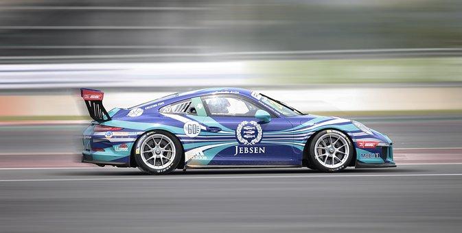 Racing, Porsche, 9 11, Racing Car, Racecourse, Blurry