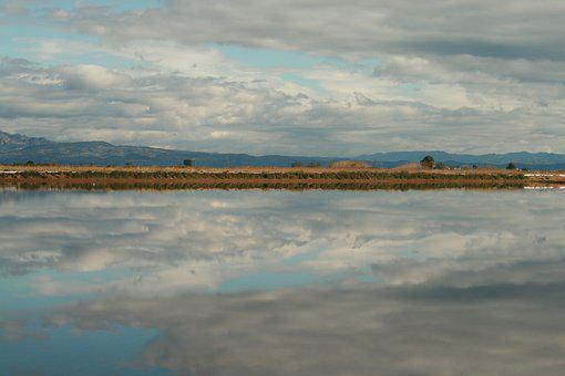 Delta, Ebro, Sky, Reflection, Clouds