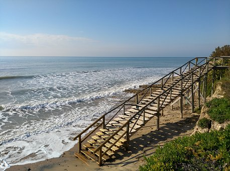 Beach, Sea, High Tide, Access To Beach, Stairs, Wood