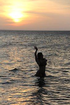 Sea, Water, Person Inside Water, Ballerina Water, Beach